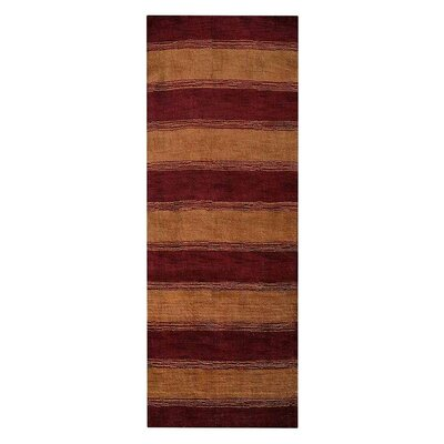 Ry Hand-Woven Wool Red/Gold Area Rug Rug Size: Runner 26 x 10