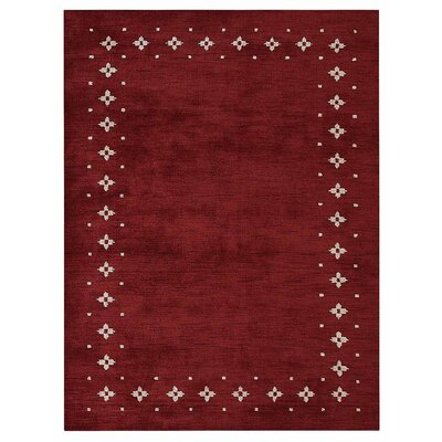 Mendez Loom Hand Knotted Wool Red Area Rug