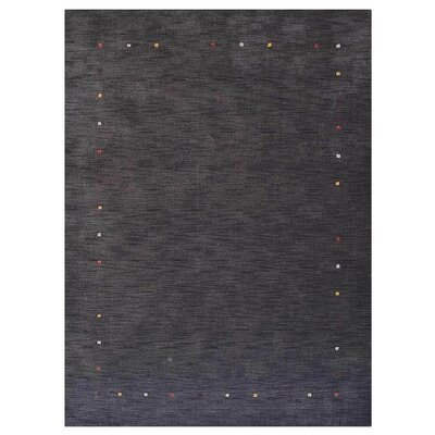 Courtdale Hand-Knotted Wool Charcoal Area Rug Rug Size: 5 x 8