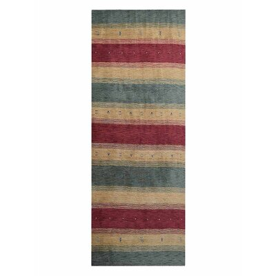 Avent Loom Hand Knotted Wool Red/Yellow/Green Area Rug