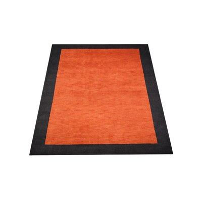 Theodis Loom Hand Woven Wool Orange/Black Area Rug Rug Size: Rectangle 5 x 8