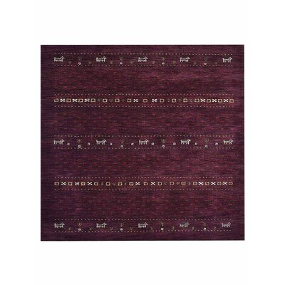 Allensville Loom Hand Knotted Wool Purple Area Rug