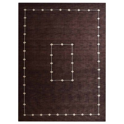 Irvin Loom Hand Knotted Wool Brown Area Rug