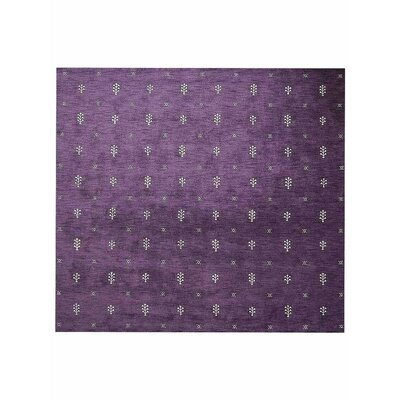 Carsdale Loom Hand Knotted Wool Purple Area Rug