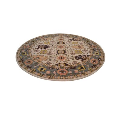 Carwill Vintage Round Hand Tufted Wool Black/Beige Area Rug