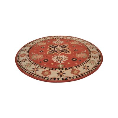 Carshalton Vintage Round Hand Tufted Wool Beige/Brown Area Rug