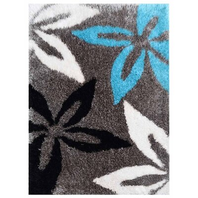 Ansari Shag Hand-Woven Blue/Gray/Black Area Rug Rug Size: Rectangle�5 x 8