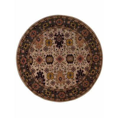 Carwill Vintage Round Hand Tufted Wool Black/Beige Area Rug