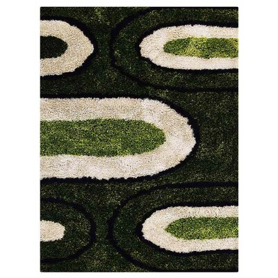 Angeles Shag Hand Tufted Black/Green/Gray Area Rug
