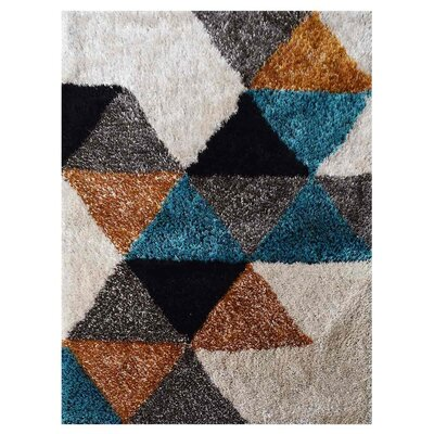 Remmers Shag Hand Tufted Gray/Blue/Black Area Rug