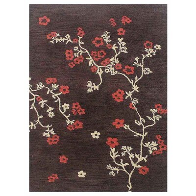Kasia Hand Tufted Wool Floral Brown/Red/Beige Area Rug Rug Size: 9 x 12