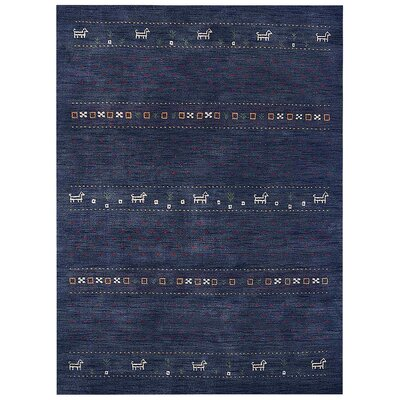 Allenport Loom Hand Knotted Wool Blue Area Rug Rug Size: 5 x 8