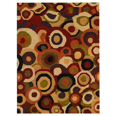 Addae Hand-Tufted Yellow/Red/Black Area Rug