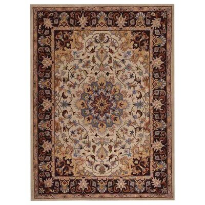 Lohr Vintage Hand-Woven Cream/Brown Area Rug Rug Size: Rectangle�8 x 10