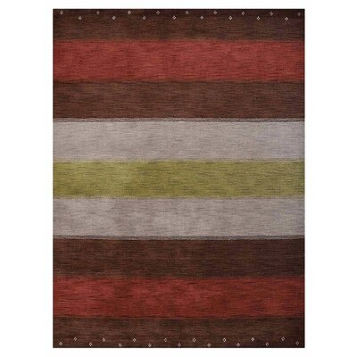 Citrus Heights Hand-Knotted Wool Brown/Silver/Red Area Rug