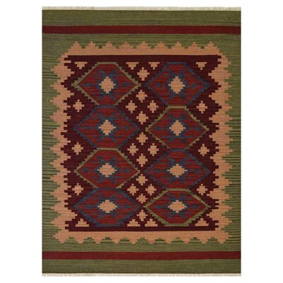 Clairville Hand-Woven Wool Burgundy/Olive Area Rug