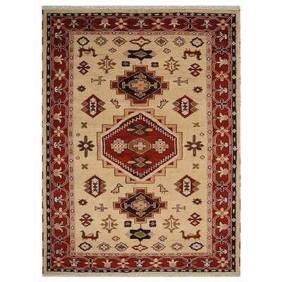 Corrin Hand-Knotted Gold/Red Area Rug Rug Size: Rectangle 5 x 8