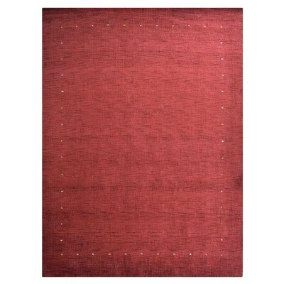 Commerce City Hand-Knotted Wool Red Area Rug