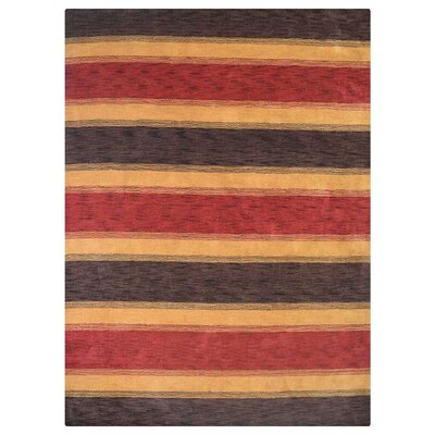 Ceniceros Striped Hand-Woven Wool Brown/Gold Area Rug Rug Size: Rectangle 6 x 9