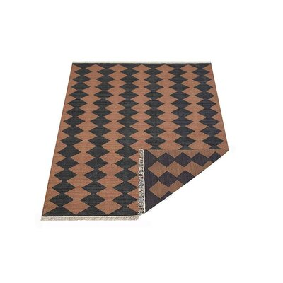 Zayas Hand-Woven Wool Brown/Charcoal Area Rug