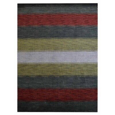 Zehner Hand-Knotted Wool Gray/Red Area Rug