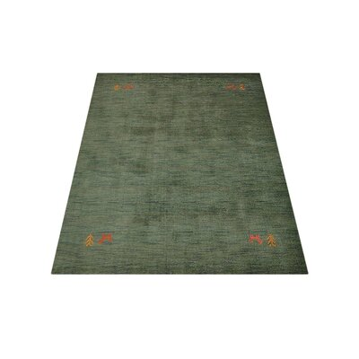Corinth  Hand-Knotted Wool Green Area Rug