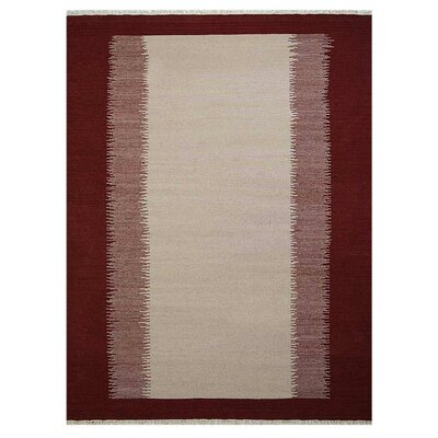 Countryside Hand-Woven Wool Cream/Wine Area Rug Rug Size: 5 x 8