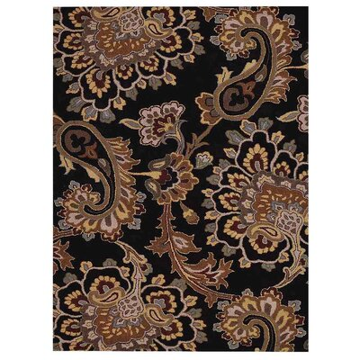 Ernestine Floral Hand-Tufted Black Area Rug