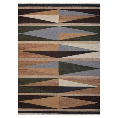 Clarence Hand-Woven Wool Brown/Blue Area Rug Rug Size: 3 x 5
