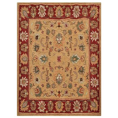 Gallenstein Vintage Hand-Tufted Gold/Red Area Rug
