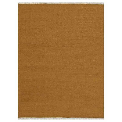 Creasman Hand-Woven Wool Gold Area Rug Rug Size: 4 x 6