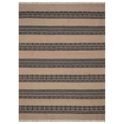 Reyer Hand-Woven Wool Cream/Charcoal Area Rug Rug Size: 4 x 6