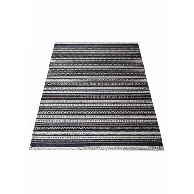 Cleland Hand-Woven Charcoal/White Area Rug Rug Size: Rectangle�5 x 8