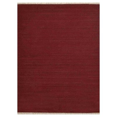 Coturnix Hand-Woven Wool Dark Red Area Rug Rug Size: 5 x 8