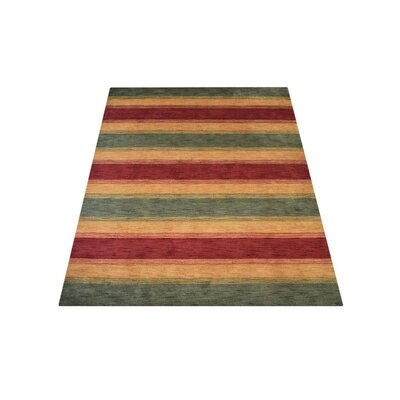 Kenyon Hand-Woven Wool Green/Gold Area Rug Rug Size: Runner 2'6