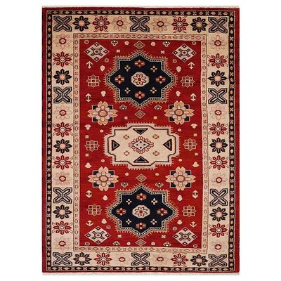 Corrin Hand-Woven Red/Cream Area Rug Rug Size: Rectangle 6 x 9