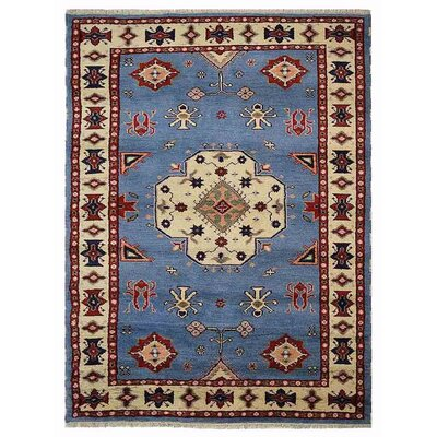 Corrin Hand-Knotted Blue/White Area Rug Rug Size: 9 x 12