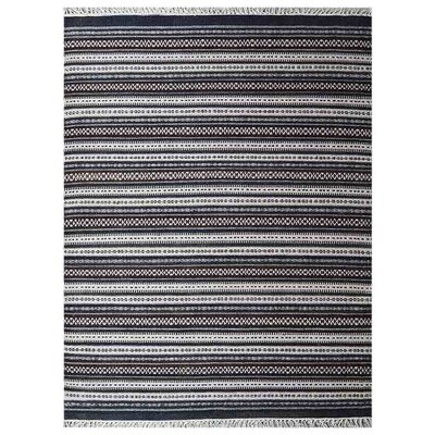 Cleland Hand-Woven Charcoal/White Area Rug Rug Size: Rectangle�4 x 6