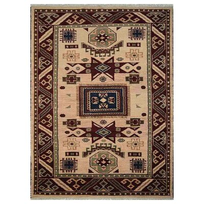 Corrin Hand-Knotted Cream/Burgundy Area Rug Rug Size: 8 x 10