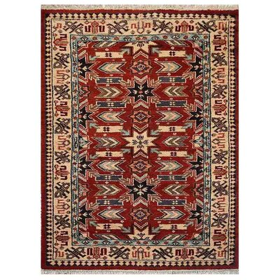Corrin Hand-Knotted Red/Cream Area Rug Rug Size: 5 x 8
