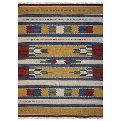 Clairan Hand-Woven Wool Brown/Blue Area Rug Rug Size: 5 x 8