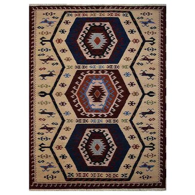 Corrin Hand-Knotted Cream/Blue Area Rug Rug Size: 8 x 10