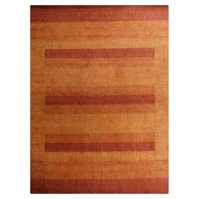 Yizheng Hand-Knotted Wool Orange Area Rug Rug Size: 9 x 12
