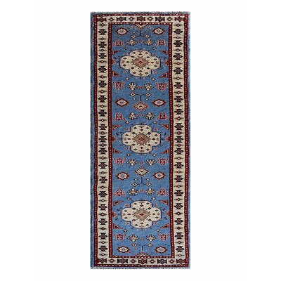 Corrin Hand-Knotted Blue/White Area Rug Rug Size: Runner 26 x 10