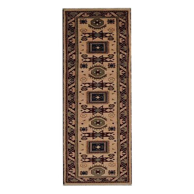 Corrin Hand-Knotted Cream/Burgundy Area Rug Rug Size: Runner 26 x 10