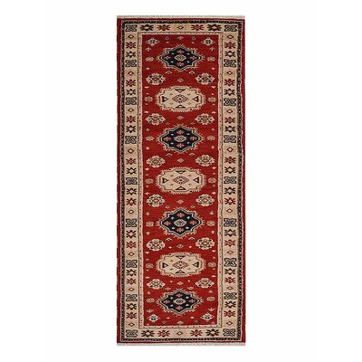 Corrin Hand-Knotted Rectangle Red/Cream Area Rug Rug Size: Runner 26 x 10