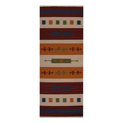 Clare Hand-Woven Brown/Blue Area Rug Rug Size: Runner 3 x 13