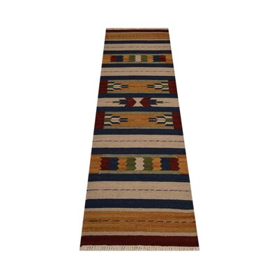 Clairan Hand-Woven Brown/Blue Area Rug Rug Size: Runner 26 x 12