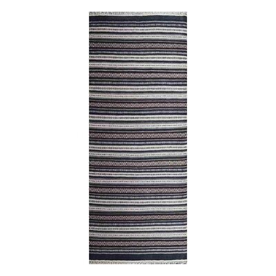 Cleland Hand-Woven Charcoal/White Area Rug Rug Size: Runner 3 x 13