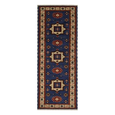 Corrin Hand-Knotted Aqua/White Area Rug Rug Size: Runner 26 x 10